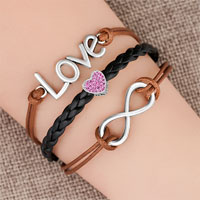Bracelets - vintage iced out silver infinity love heart charm brown black leather bracelet Image.