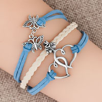New Arrivals - vintage iced out silver open hearts butterfly charm white blue leather bracelet Image.
