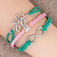 Bracelets - vintage iced out silver infinity life tree charm pink green leather bracelet Image.