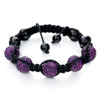 Bracelets - shambhala bracelet purple ball swarovski crystal Image.