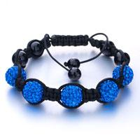 Bracelets - shambhala bracelet sapphire blue ballswarovski crystal wrist chain balls Image.