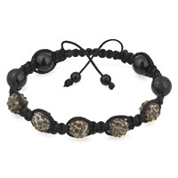 Man's Jewelry - shambhala bracelet black ball rhinestone Image.
