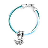 Bracelets - silver plated heart mother daughter colorful leather charm bracelets Image.