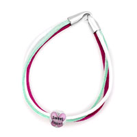 Bracelets - silver plated butterfly sweet sister colorful leather charm bracelet Image.