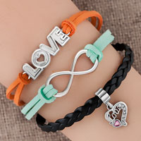 Bracelets - silver/ p infinity love heart charm black blue leather bracelet Image.