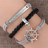 Bracelets - vintage iced out silver infinity tree of life dog animal charm brown leather bracelet Image.