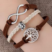 Bracelets - vintage iced out silver infinity cross puppy dog charm brown purple leather bracelet Image.
