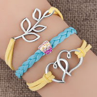 Bracelets - vintage iced out silver infinity dream heart flower mother daughter charm pink white leather bracelet Image.