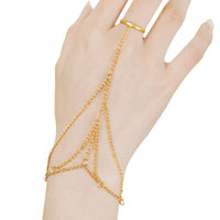 New Arrivals - multi bracelet bangle slave chain interweave finger rings hand harness gold Image.