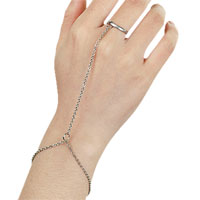 KSEB SHEB Items - bracelet bangle slave chain link finger rings hand harness silver tone plain bracelet Image.