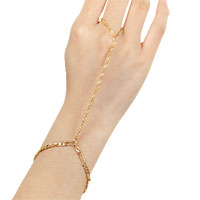 KSEB SHEB Items - bracelet bangle slave chain link finger rings hand harness gold tone plain bracelet Image.