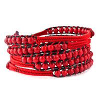 New Year Deals - crimson red beads wrap bracelet on black leather bohemian jewelry Image.