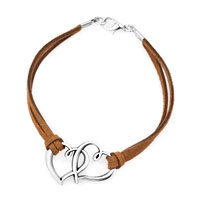 Bracelets - siver tone iced out open heart in heart brown double stand leather bracelet Image.