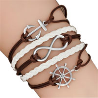 Bracelets - iced out sideways infinity sailing life anchor wheel coffee white braided leather rope bracelet Image.