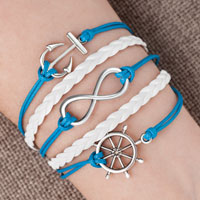 Bracelets - iced out sideways infinity sailing life anchor wheel ocean blue white braided leather rope bracelet Image.