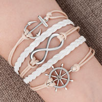 Bracelets - iced out sideways infinity sailing life anchor wheel clear white braided leather rope bracelet Image.