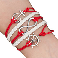 Bracelets - iced out sideways infinity sailing life anchor wheel red white braided leather rope bracelet Image.
