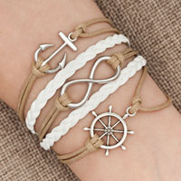Bracelets - iced out sideways infinity sailing life anchor wheel light yellow white braided leather rope bracelet Image.