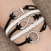 Bracelets - iced out sideways infinity sailing life anchor wheel black white braided leather rope bracelet Image.