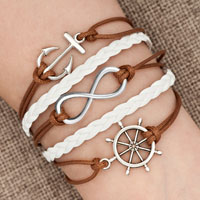 Bracelets - iced out sideways infinity sailing life anchor wheel brown white braided leather rope bracelet Image.