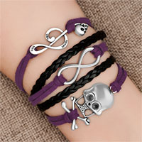 Bracelets - iced out sideways infinity skull music note purple black braided leather rope bracelet Image.