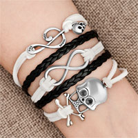New Arrivals - iced out sideways infinity skull music note white black braided leather rope bracelet Image.