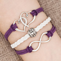 Bracelets - iced out sideways infinity open heart in heart friendship &  love purple white braided leather rope bracelet Image.