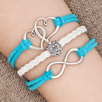 Bracelets - iced out sideways infinity open heart in heart friendship &  love ocean blue white braided leather rope bracelet Image.