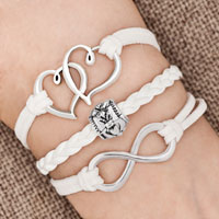 Bracelets - iced out sideways infinity open heart in heart friendship &  love white white braided leather rope bracelet Image.
