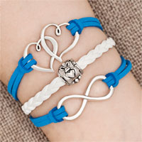 Bracelets - iced out sideways infinity open heart in heart friendship &  love blue white braided leather rope bracelet Image.