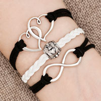 Bracelets - iced out sideways infinity open heart in heart friendship &  love black white braided leather rope bracelet Image.