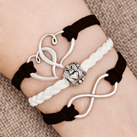 Bracelets - iced out sideways infinity open heart in heart friendship &  love brown white braided leather rope bracelet Image.