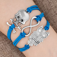 Bracelets - iced out sideways infinity owl animal skull sky blue braided leather rope bracelet Image.