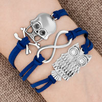 Bracelets - iced out sideways infinity owl animal skull sapphire blue braided leather rope bracelet Image.