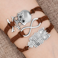 Bracelets - iced out sideways infinity owl animal skull coffee brown braided leather rope bracelet Image.