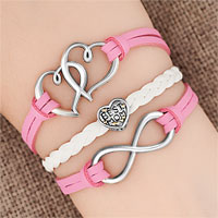 Bracelets - iced out sideways infinity open heart in heart best mom heart charms pink braided leather bracelet Image.