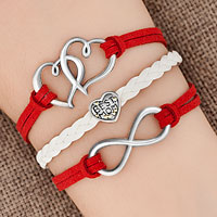 Bracelets - iced out sideways infinity open heart in heart best mom heart charms red braided leather bracelet Image.