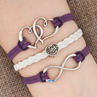 New Arrivals - iced out sideways infinity open heart in heart best mom heart charms purple braided leather bracelet Image.
