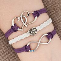 Bracelets - iced out sideways infinity open heart in heart best mom heart charms purple braided leather bracelet Image.