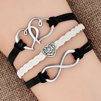Bracelets - iced out sideways infinity open heart in heart best mom heart charms black braided leather bracelet Image.