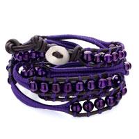 Bracelets - stylish purple turquoise beads wrap bracelet on black leather Image.