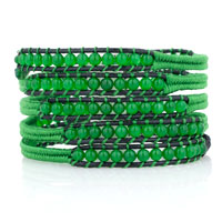 Bracelets - green turquoise beads wrap bracelet on natural black leather gift Image.