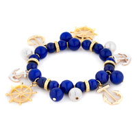 Bracelets - blue white helm &  anchor pearl bead gold sailor bangle bracelet Image.
