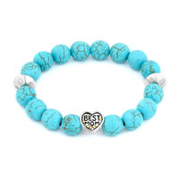 New Arrivals - fashion turquoise gemstone chunky best mom charm bangle bracelet Image.
