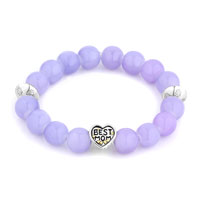 Bracelets - new amethyst purple gemstone chunky best mom charm bangle bracelet Image.