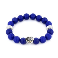 Bracelets - blue gemstone chunky best mom charms stretch bangle charm bracelet Image.