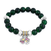 Bracelets - green gemstone crystal cz mother daughter charm bangle bracelet Image.