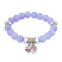 Bracelets - hot amethyst purple gemstone crystal mother daughter charm bangle bracelet Image.