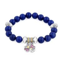 Bracelets - blue gemstone crystal cz mother daughter charm bangle bracelet Image.