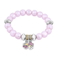 Bracelets - pink gemstone crystal cz mother daughter charm bangle bracelet Image.